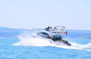 Princess motor yacht at speed
