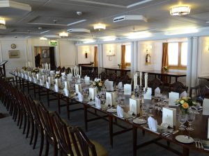 Dining room on royal yacht Britannia